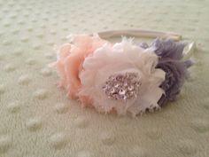 Hard headband - ivory peach grey hard headband - shabby chic hard headband - toddler headband - little girl Christmas gift