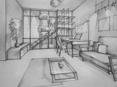 Deviantart: more like living room marker by ~maoundo interior architecture drawing, interior design Drawing Interior, Interior Design Sketches, Interior Rendering, Sketch Design, Room Sketch, House Sketch, House Drawing, One Point Perspective Room, Perspective Art