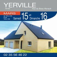 Habitat Concept vous invite à visiter ce pavillon de 152 m2 habitable comprenant 4 chambres et double garage à YERVILLE (76760) - Rue du Bosc-Renault, les 15 et 16 Mars de 10h à 12h et de 14h à 18h !  Renseignements par téléphone au 02.35.56.46.22  http://www.habitatconcept-fr.com/evenement-360-portes-ouvertes-yerville-76760-15-Mars-2014