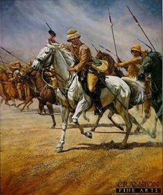 Young Winston by Bud Bradshaw.    Young Winston Churchill leads British Lancers against the hordes at Omdurman, 1898.