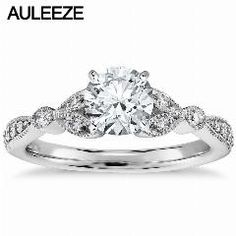 [ $20 OFF ] Petite Vintage Pave Leaf Lab Grown Diamond Engagement Ring 1Ct Moissanites 14K White Gold Rings For Women Classic Wedding Band