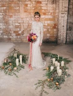 Watercolor Industrial Wedding Inspiration In An Outdated Factory | Wedding