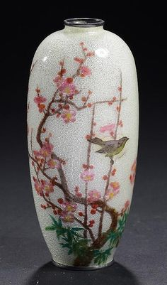 A JAPANESE GIN BARI GROUND CLOISONNÉ ENAMEL VASE, EARLY 20TH C  with a bird in a cherry tree, 12cm h, signed Kawaguchi-zo  <br> ++Very slight surface crack around the bird, in our opinion resulting from a slight difference in the conducting properties of the silver cloisons of the bird to the surrounding work at time of manufacture, no restoration <br>