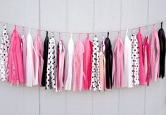 Minnie Mouse Inspired Tissue Paper Tassel Garland   by ThePaperJar, $35.00
