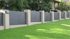 7 Sparkling Clever Ideas: Half Brick Fence aluminum fence with brick columns.Fence For Backyard Garden Ideas fence post simple. Brick Fence, Concrete Fence, Front Yard Fence, Cedar Fence, Pallet Fence, Gabion Fence, Fence Landscaping, Backyard Fences, Garden Fencing