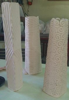 Coil vases - beauty in the simplicity of these patterns. I love coil!