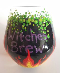 This is a set of two stemless Halloween themed wine glasses. They are each painted as a witch cauldron with flames coming up from underneath, green bubbles cascading down the sides and witches brew on one side.  Holds 16 ounces. The glasses are quality glass from the Czech Republic. Even though they are baked and are therefore dishwasher safe, I recommend hand washing them as you would any high quality glass item.  ***GIFT WRAPPING: If you would like this gift wrapped, I offer cloth gift…