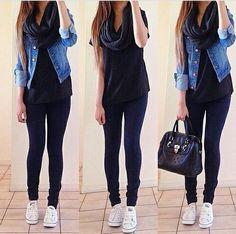 Image result for outfit con chaqueta de jean