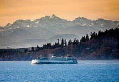 State Ferry On Puget Sound And The Olympic Mountains, Washington State Olympic Mountains, Scenic Photography, Photography Tips, Bainbridge Island, Washington State, Washington Tattoo, Western Washington, Seattle Washington, Pacific Northwest