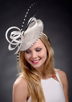 White and black saucer hat wedding hat white Ascot by MargeIilane, $159.90