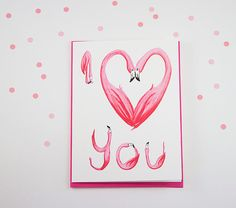 I love you card pink flamingo card by AmelieLegault on Etsy