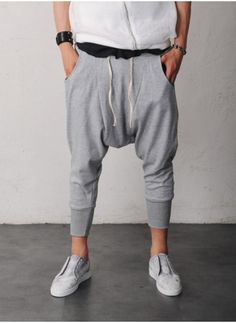 Mens Wide Drop Crotch Baggy Jersey Cropped Pants at Fabrixquare