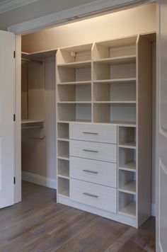Reach-In Closets – Built-Rite Closets – Garage Organization DIY Reach In Closet, Build A Closet, Kid Closet, Closet Ideas, Bedroom Closet Design, Master Bedroom Closet, Closet Designs, Closet Renovation, Closet Remodel
