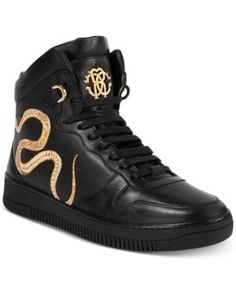 Roberto Cavalli Men's Leather Gold Hightop Sneakers - Black 10.5