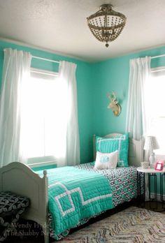 Teen Girl's Bedroom Mint & Navy 2