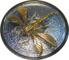 Czech Lacy Glass Button Dragonfly Blue w/Gold Luster FREE US SHIPPING