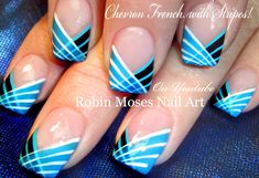 SUBSCRIBE and Show Me if you try this super Fun and Easy informational striping brush Nail Design Tutorial done in Blue, Black and white chevron french manic...