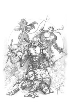 Teenage Mutant Ninja Turtles by Rod Thornton * Teenage Mutant Ninja Turtles, Ninja Turtles Art, Teenage Turtles, Comic Books Art, Comic Art, Univers Dc, Bd Comics, T Rex, Cool Artwork