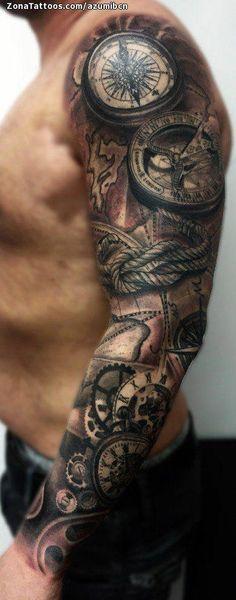 Kompasskarte - Tim's tatoo - Tattoos Full Sleeve Tattoos, Tattoo Sleeve Designs, Tattoo Designs Men, Clock Tattoo Sleeve, Quarter Sleeve Tattoos, Map Tattoos, Body Art Tattoos, Cool Tattoos, Tattoo Rose Des Vents