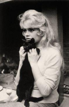 Bridgitte Bardot with cat