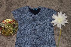 Fresh Produce 100% Cotton Paisley Navy Blue Shirt Size Large #FreshProduce #KnitTop