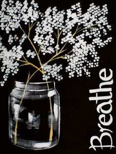 Drawings Easy 16 EASY Acrylic paintings you can do with cotton Swabs. Q-tip cotton BREATHE babies breath in mason Jar 3 color Easy Beginner Acrylic painting By The Art Sherpa Q Tip Painting, Acrylic Painting For Beginners, Easy Canvas Painting, Diy Canvas Art, Simple Paintings For Beginners, Easy Flower Painting, Painting Quotes, Black Canvas Paintings, Simple Acrylic Paintings