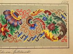 Antique Berlin Woolwork hand-painted chart 19th cent. F.W. Lusch in Berlin