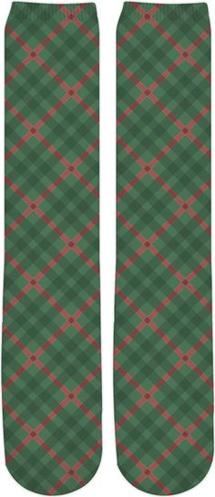 Buffalo plaid pattern, retro design, classic chequered pattern, red & green green scottish tartan pattern socks. Item printed by RageOn.com Production Time: 7-10 business d... #hot #cool #stylish #sexy #unique