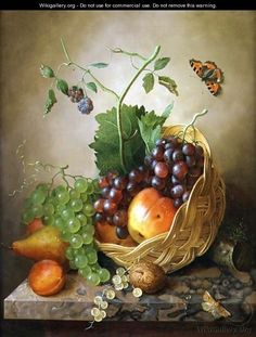 A Basket of grapes and apples on a marble ledge - Willem Verbeet