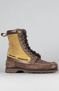 Sebago X Filson Osmore Boot in Rich Brown Leather and Filson Tin Cloth