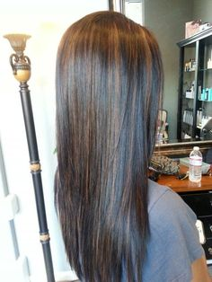 Dark hair with caramel high lights