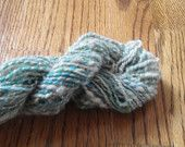 Handspun yarn, Double ply, Blue/green and white, 50 yards