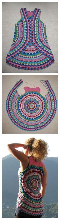 Colete em crochê feito a partir de um círculo