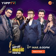 Mirchi Music awards on Zee TV Tv Channels, Music Awards, Indian, Usa, Live, Movies, Movie Posters, Films, Film Poster