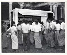 A bookmobile in Yangon, Myanmar (then Rangoon, Burma), c. 1950s.