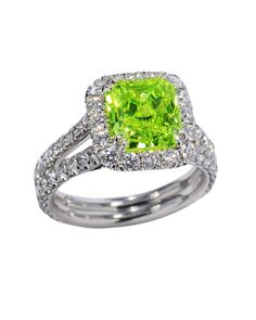 Platinum Ring With Cushion Cut Fancy Green Yellow Diamond
