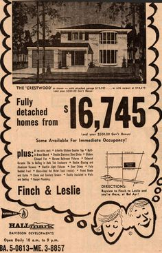 The price for Toronto real estate in newspaper ad, house, suburbs, retro Toronto Ontario Canada, Toronto City, Toronto Houses, Real Estate Ads, Real Estate Marketing, Scarborough Toronto, Canadian History, Real Estate Investing, The Good Old Days