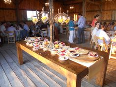 Desert Table for rehearsal dinner held in event barn at French Valley Vineyards in Leelanau County, Northern Michigan.