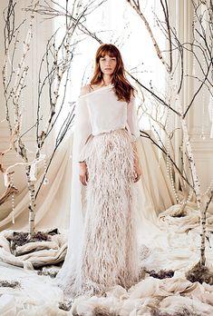 Manuel Mota for Pronovias chiffon and feather wedding dress