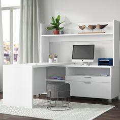 Comm Office Heyworth Reversible L-Shape Metal Leg Executive Desk with Hutch Corner Desk With Hutch, Computer Desk With Hutch, Desk Hutch, Furniture Ads, Business Furniture, Office Furniture, Small Furniture, Adjustable Shelving, Open Shelving