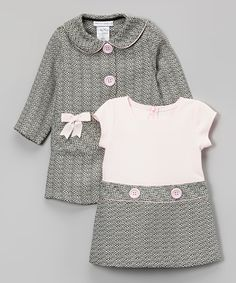 This Pink & Gray Bow Peacoat & Dress - Infant, Toddler & Girls by Gerson & Gerson is perfect! #zulilyfinds