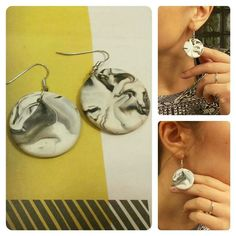 Earrings diy, little piece of black polymer clay mixed in to more amount of  white-> marble.
