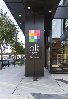 The Alt Hotel Montreal Griffintown is located in a large real-estate complex in one of the most lively districts of Montreal. Montreal Architecture, Architecture Design, Canada, Hotel Lobby, Hospitality, Signage, Logo, Architecture Layout, Logos