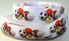 1 Sports Print Grosgrain Ribbon