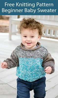 Free Knitting Pattern for Beginner Baby Sweater in One Skein - This baby sweater is knit in stockinette with ribbed cuffs and hem and a rollover collar. The shaping is very minimal. Ideal for beginner knitters according to the designer Gina Micheles who used a self-striping yarn to simulate colorwork. Size 12-18 months. Uses less than 1 skein of the recommended Self-Striping Worsted weight yarn (426 yards). Baby Knitting Free, Knitting Patterns Free Dog, Baby Booties Knitting Pattern, Crochet Baby Booties, Knitting For Kids, Baby Patterns, Knit Patterns, Free Pattern, Knit Baby Sweaters