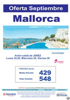 MALLORCA , Oferta Hotel Florida, salidas 22, 24, 26 y 29 Septiembre desde Jerez de la Frontera ultimo minuto - http://zocotours.com/mallorca-oferta-hotel-florida-salidas-22-24-26-y-29-septiembre-desde-jerez-de-la-frontera-ultimo-minuto/
