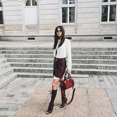 Doina Ciobanu wearing the Jimmy Choo ANNELI boot at #PFW {Regram: @ goldendiamonds}