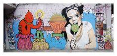 "On the Sidewalks of Montevideo - Graffiti Photo ""I winked at you"" _ Blah Studio $12 #street-art #graffiti #stencil"