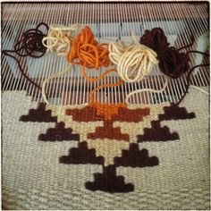 The process of tapestry kilim weaving 🥳 - - - - - - - - - - Weaving Textiles, Weaving Art, Weaving Patterns, Loom Weaving, Hand Weaving, Stitch Patterns, Knitting Patterns, Wool Wall Hanging, Handmade Wall Hanging