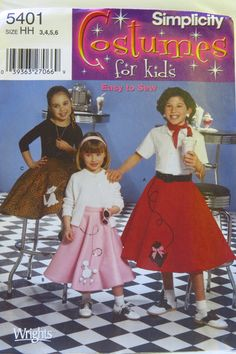 Simplicity 5401 Childs And Girls Poodle Skirts